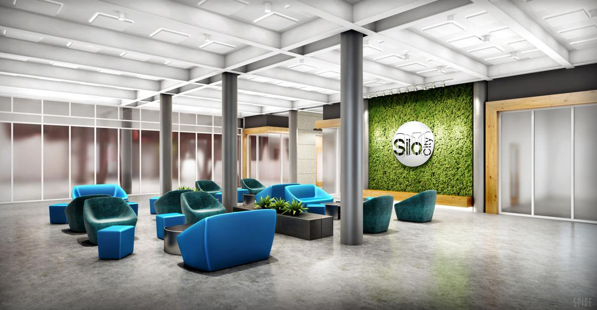 A rendering of the interior of the renovated American Mill & Warehouse complex at Silo City.