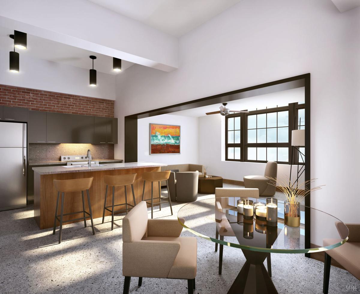 A rendering of an apartment at the renovated American Mill & Warehouse complex at Silo City.